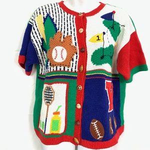 MARISA CHRISTINA Vintage Chunky Sports Sweater  M